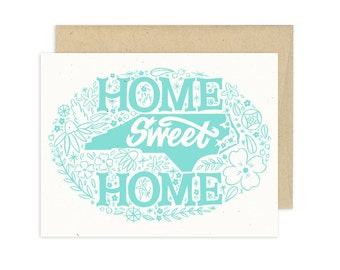 Home Sweet North Carolina, Icy Blue, Illustrated Greeting Card