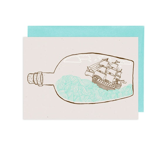 The Original Ship in a Bottle Illustrated Greeting Card