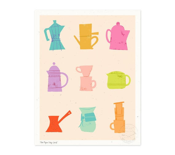 Brew Up, Tropical Colors Illustrated Art Print