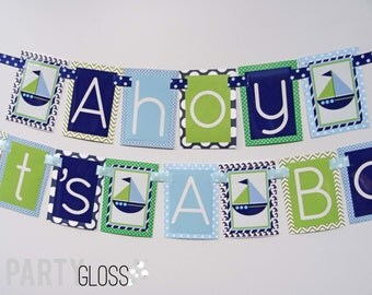 Ahoy Its' a Boy Nautical Baby Shower Decorations Navy, Green, White Fully Assembled