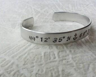 Latitude & Longitude Aluminum Cuff - Hand Stamped 3/8 Inch Aluminum Cuff Bracelet - GPS Coordinates