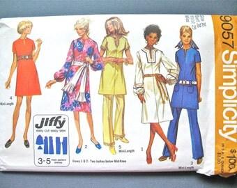 Uncut 1970s Simplicity 9057 Vintage Jiffy Sewing One-Piece Dress Pattern Pants Tunic Bust 38 Waist 29