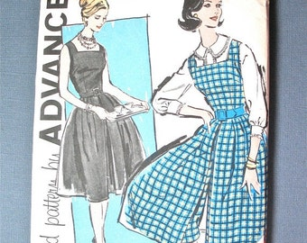 ON SALE Uncut Early 60s Advance 9561 One-Piece Culottes Dress Pattern  1950s Misses Jumper Culotte and Blouse  Vintage Sewing Pattern Bust 3