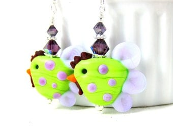 Chicken Earrings, Lime Green Purple Earrings, Rooster Earrings, Bird Earrings, Barnyard Earrings, Funny Earrings Polka Dot Lampwork Earrings