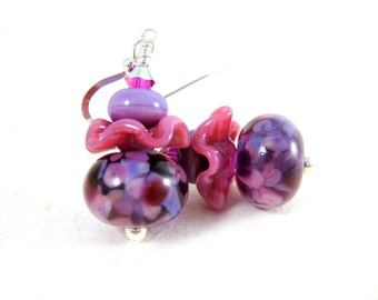 Purple Pink Ruffle Earrings, Pastel Glass Earrings, Whimsical Earrings, Lampwork Earrings, Funky Earrings, Unusual Earrings, Fun Earrings