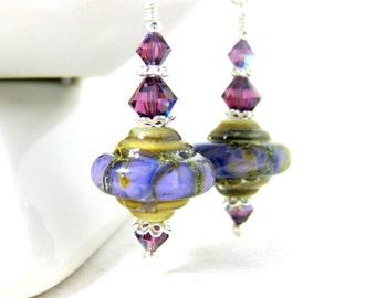 Purple Lavender Ivory Earrings, Rustic Dangle Earrings, Glass Earrings, Drop Earrings, Lampwork Earrings, Boho Earrings, Crystal Earrings