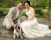 Cream Khaki Wedding Tuxedo Dog Bandana Sz L XL