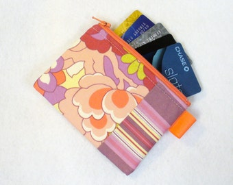 Clearance SALE Amy Butler Fabric Business Card Case Coin Purse Zippered Credit Card Womens Card Holder Wallet Cutting Garden Coral Purple