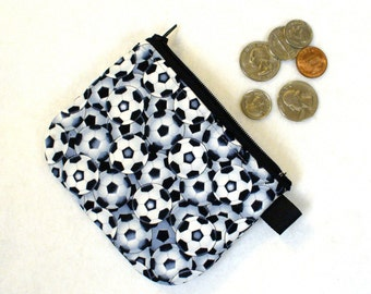 Soccer Balls Boys Coin Purse Zipper Change Purse Coin Purse Football Black White Gray Handmade MTO