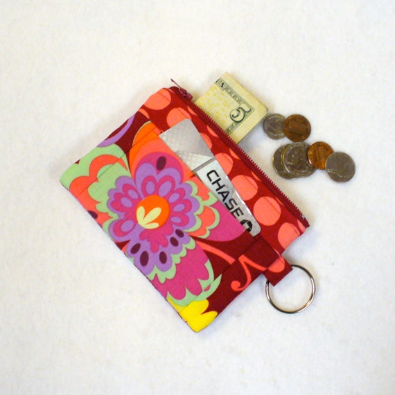 CLEARANCE SALE! Coin Purse Amy Butler Fabric Paradise Garden Wine Zipper Change Purse Card Slot Key Ring Fob Purple Pink Fabric Wallet