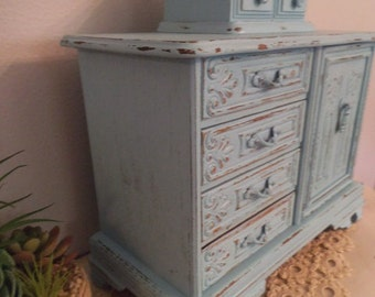 Vintage Upcycled Robin's Egg Stacked Blue Jewelry Chest ~ Jewelry Box With Hidden Ring Compartment