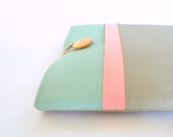 "11"" to 15.6"" Laptop Sleeve, New MacBook 12 inch Case, MacBook Pro Retina Display 13"" inch Case Padded w/ Pocket - Seafoam, Peach Color Block"