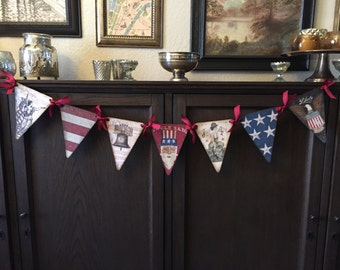 4th July Banner / Garland. 7 images with crystal rhinestones, red ribbon.