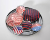 American 4th of July magnet or push pin set - made from recycled magazines, stocking stuffer, hostess gift, graduation