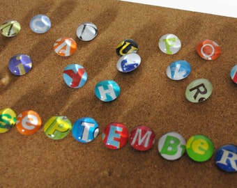 SMALL magnet or push pin LETTERS- made from recycled magazines, 2017 perpetual calendar, letters, push pins