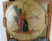 1937 Mexicana Rancho Craft Crackle Wood Rope Trimmed Serving Platter Wall Hanging Excellent