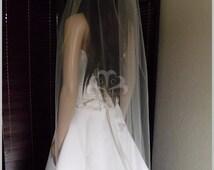 Sheer Wedding Veil Hip Lenght Cut Edge, Bridal Veil  CE36X50