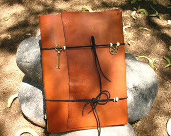Book Of Shadows~Journal~Leather bound and Hand Stitched with Bone and Brass accents~Witch~Wicca~Druid~Pagan