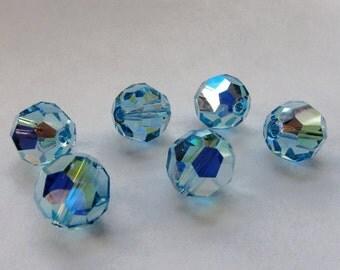 10mm Aquamarine AB Swarovski Round Beads - (6)