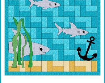 Sharks! quilt pattern