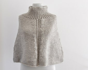 Poncho Winter Poncho Cape Chunky Wrap Sweater Coat Hand Knit Beige Sand Oat Oversized Knits