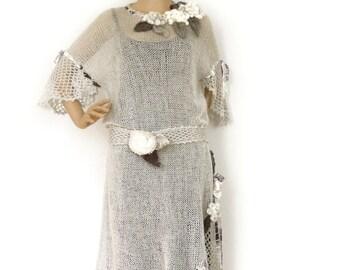 Knit dress, Tunic dress, Boho dress, Lace crochet dress, Loose knit tunic, 3D freeform crochet, Fashion trend, Avant Garde dress