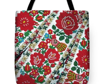 Tote Bag Hungarian Beaded Embroidery from Kalotaszeg Print Handbag in 3 sizes HOT Fashion Accessory