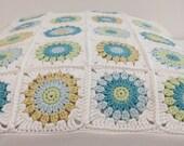 Crochet pillow - modern cushion patchwork - granny pillow  ready to ship