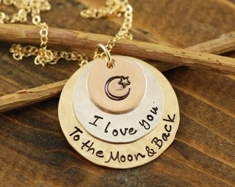 Love you to the Moon and Back Tri Color Necklace, Rose Gold Necklace, Tri Color Necklace, Moon and Back Jewelry