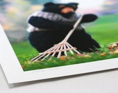 Nursery Decor, Felted Rudyard Bear fall leaves mouse nursery art print for boy or girl--green, orange, brown, pink