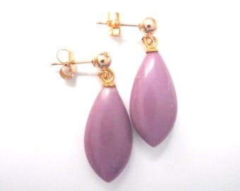 Soft Purple Earrings with Gold Components, Energy Gemstones