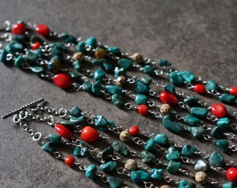 Leslie Multi-Strand Turquoise and Coral Necklace.