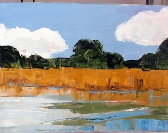 California Plein Air Landscape Lynne French Impressionist Painting MARSH Grassland 9x12