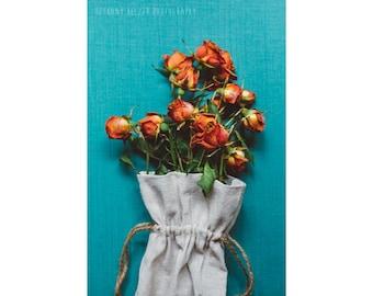 Rose Bouquet, 8x12 Print, Still Life Photography, Teal, Teal Art, Rustic Photography, Nature Photography, Flower Photography,Botanical Print