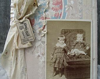 Handcrafted journal, OOAK journal, vintage journal, vintage scrapbook, baby journal, idea journal, baby shower guest book, ledger journal