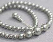 CUSTOM COLOR Bridal Necklace, Wedding Necklace, Swarovski Light Gray Pearl Bridal Necklace, Wedding Necklace, Mother of the Bride Gift