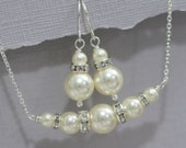 CUSTOM COLOR Bridesmaid Gift, Swarovski Ivory Pearl Necklace and Earring Set, Wedding Jewelry Set, Mother of the Groom Gift, Bridesmaid Gift