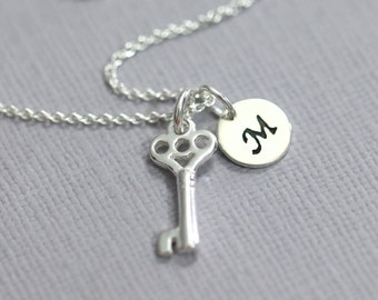 Personalized Tiny Sterling Silver Key Necklace, Sterling Silver Key Pendant on Sterling Silver Necklace Chain, Gift for Her, Girlfriend Gift