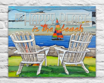 My Happy Place is the Beach sailboat INSTANT PRINTABLE, adirondack chairs, gift for couple, wedding gift, Beach decor, 8x10 11x14 Jpeg