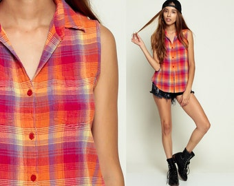 Plaid FLANNEL Shirt Vest 90s PLAID Blouse Sleeveless Flannel Grunge Top 1990s Button Up Lumberjack Vintage Red Orange Small Medium