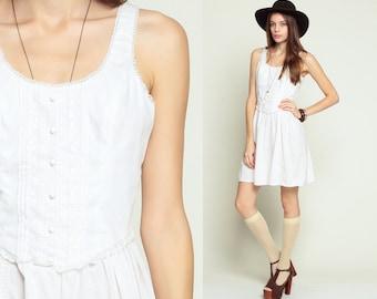 White Mini Dress 70s Babydoll LACE Dress Boho Sundress Party Sun 1970s Bohemian Wedding Vintage Sleeveless Hippie Fitted Extra Small xs