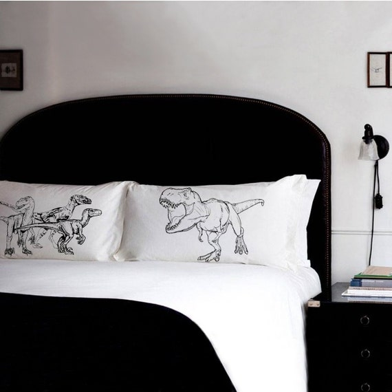 Pillow fighting set dinosaurs raptors vs trex pillowcases for T rex bedroom decor