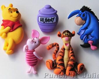 WINNIE THE POOH Piglet Eeyore Tigger Disney Dress It Up Craft Buttons