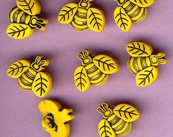 BIG BEES Yellow Black Bee Beehive Nature Garden Insect Dress It Up Craft Buttons