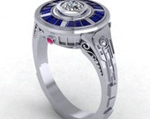 R2 Impression Ring, Geek Jewelry, R2D2 Ring, Paul Michael Designs, Blue and Silver Ring, Engagement Ring, Diamond Ring, Gift for Her