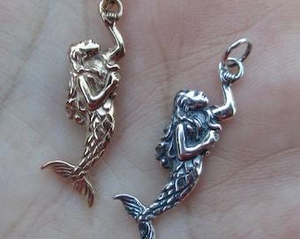 Sterling Silver Mermaid Charm(one charm) or Bronze Mermaid Charm(one charm)