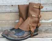 Steampunk Swiss Military Style Gaiters or Spats in Oiled Brown Leather w Antiqued Brass Hardware