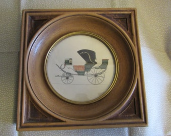 Vintage Wallhanging//Buggy Drawing/Framed with Glass/1950s