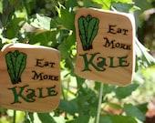 Cedar Garden Sign- Eat More Kale Garden Sign- Wooden Natural Garden Sign