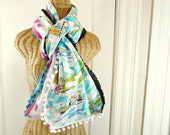 Turquoise Tribal Wrap Shawl Print Scarf Boho Reversible Landmarks Print Womens Pom Pom Tassel Trim